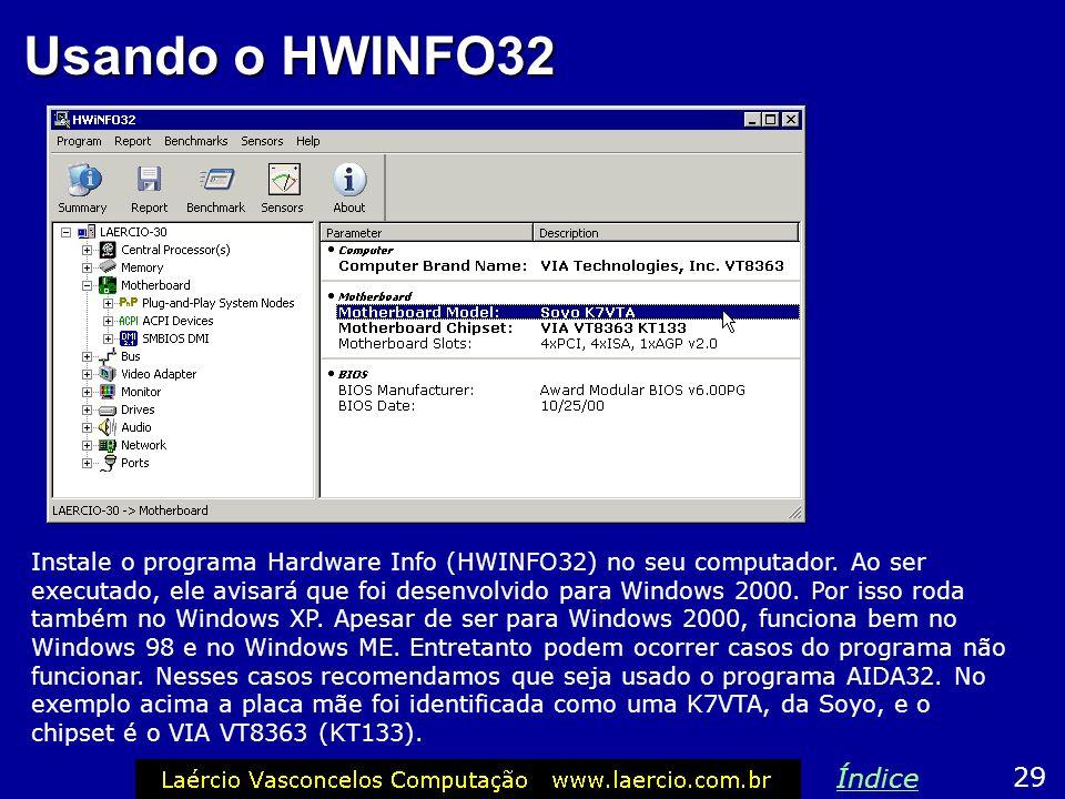 Usando o HWINFO32