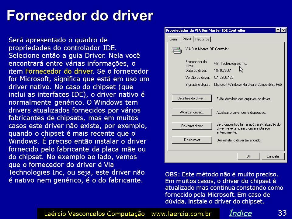 Fornecedor do driver Índice 33