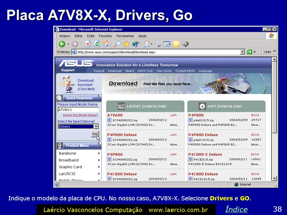 Placa A7V8X-X, Drivers, Go Índice 38