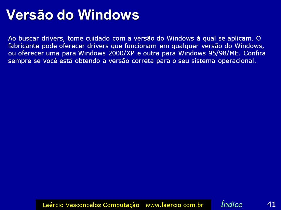 Versão do Windows Índice 41