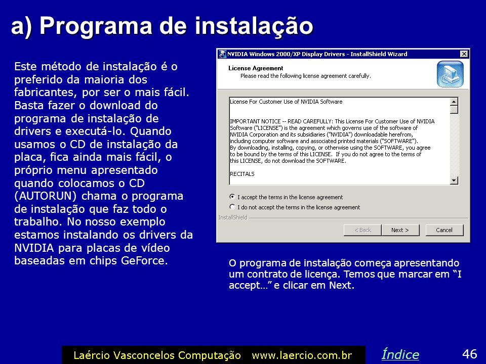 a) Programa de instalação
