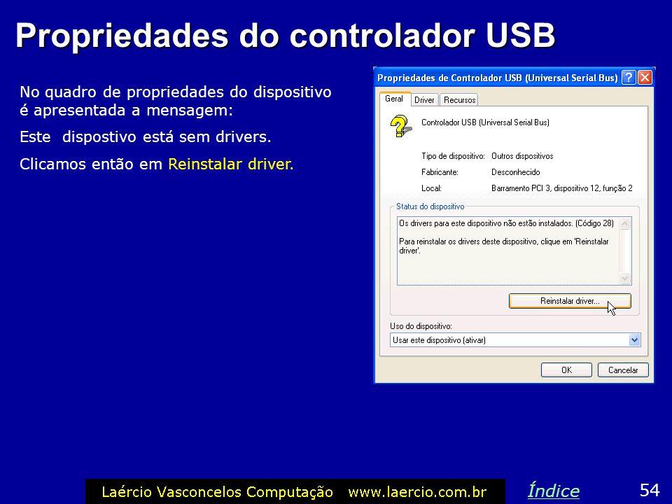 Propriedades do controlador USB