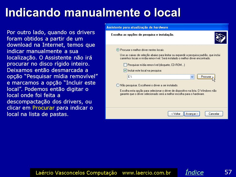 Indicando manualmente o local