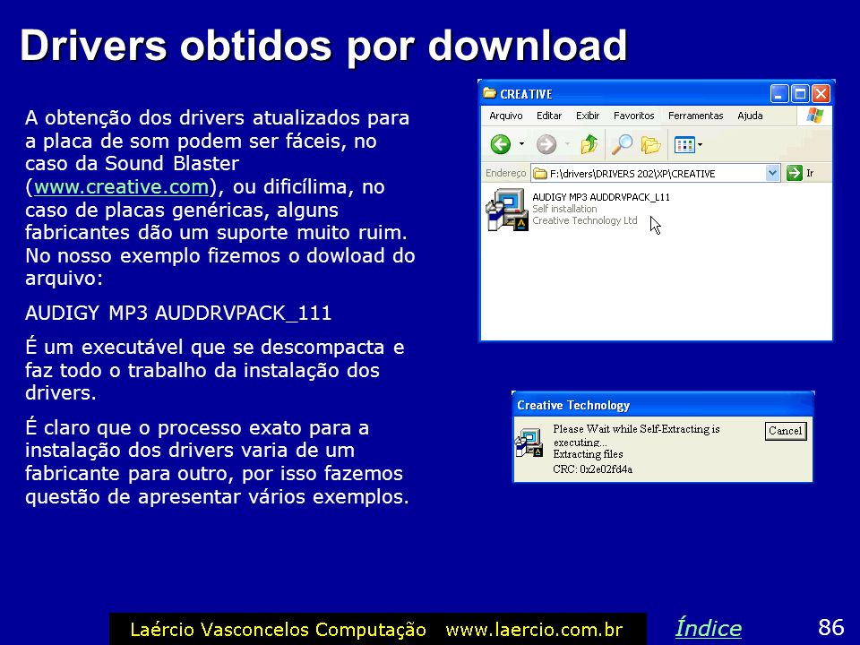 Drivers obtidos por download