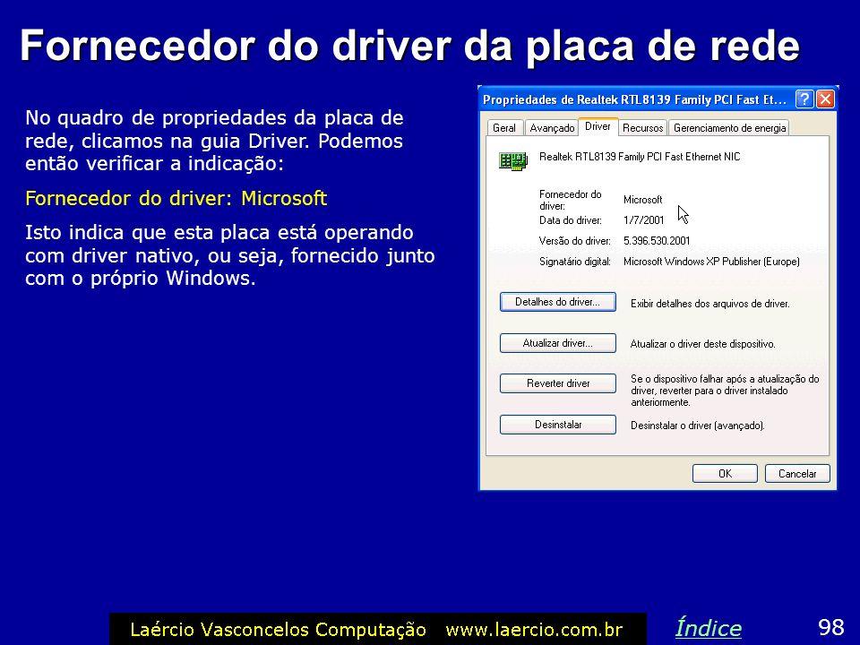 Fornecedor do driver da placa de rede