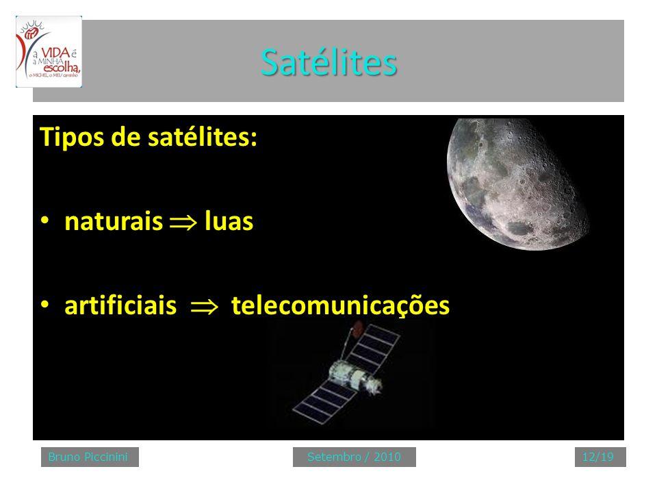 Satélites Tipos de satélites: naturais  luas