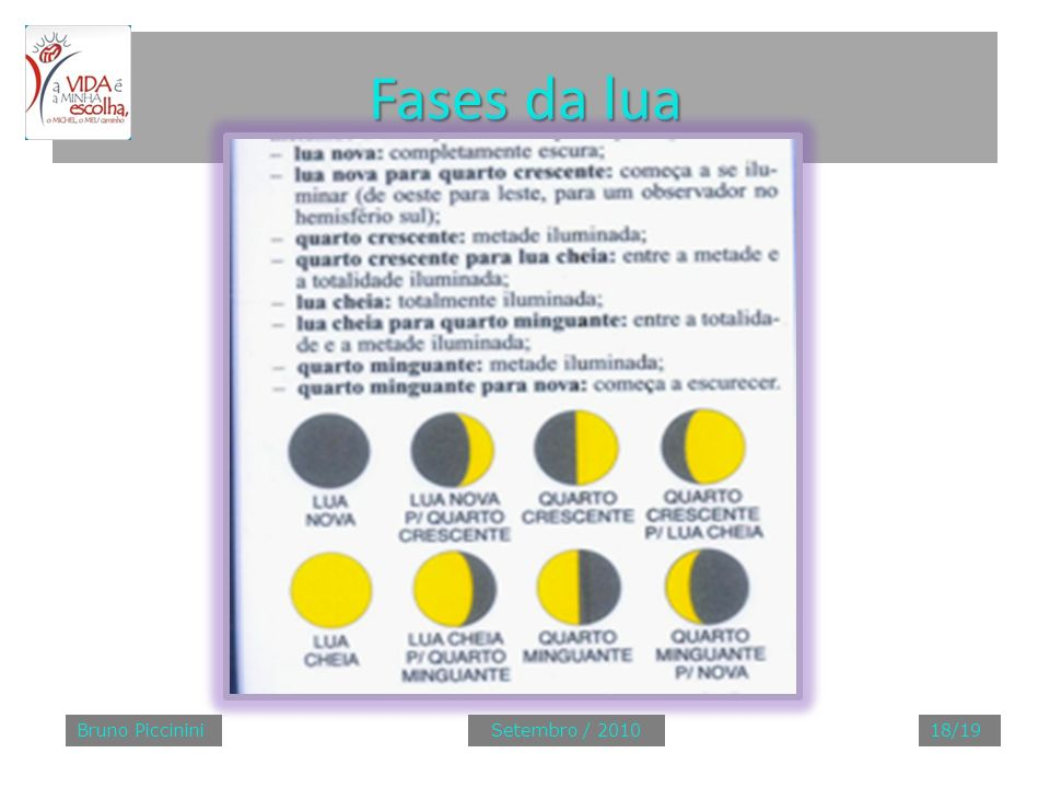 Fases da lua Bruno Piccinini Setembro / 2010 18/19