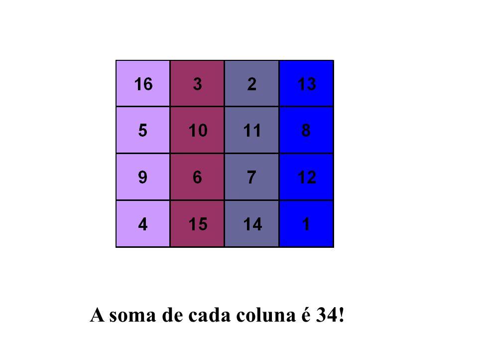 A soma de cada coluna é 34!