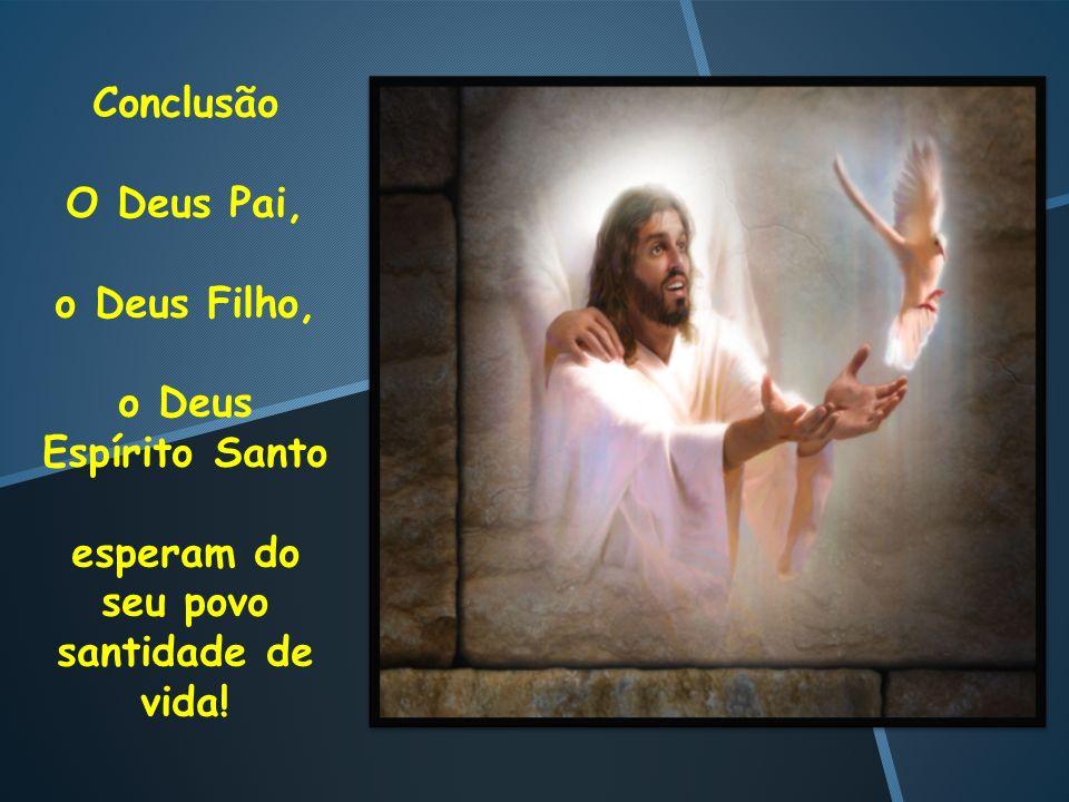 Conclusão O Deus Pai, o Deus Filho, o Deus Espírito Santo esperam do seu povo santidade de vida!
