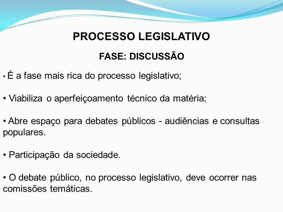 PROCESSO LEGISLATIVO FASE: DISCUSSÃO