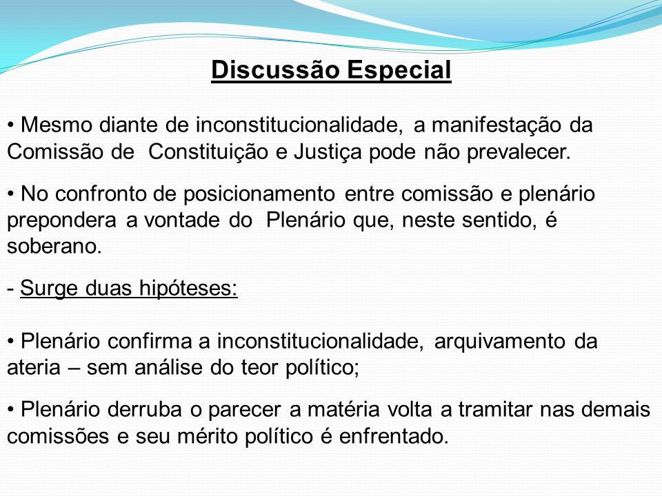 Discussão Especial Mesmo diante de inconstitucionalidade, a manifestação da Comissão de Constituição e Justiça pode não prevalecer.