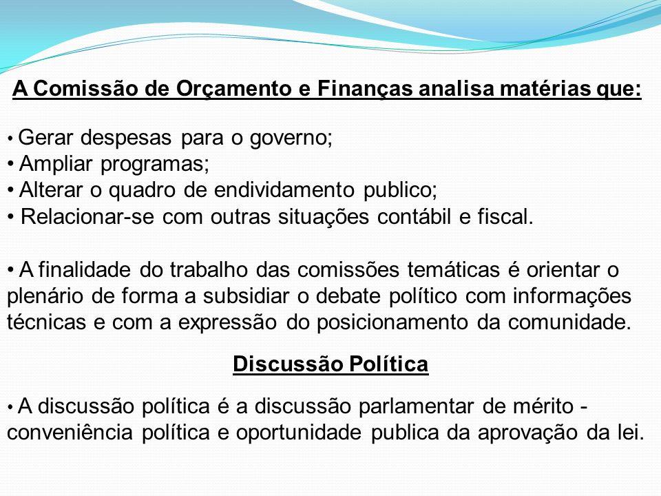 A Comissão de Orçamento e Finanças analisa matérias que: