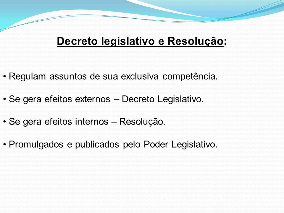 Decreto legislativo e Resolução: