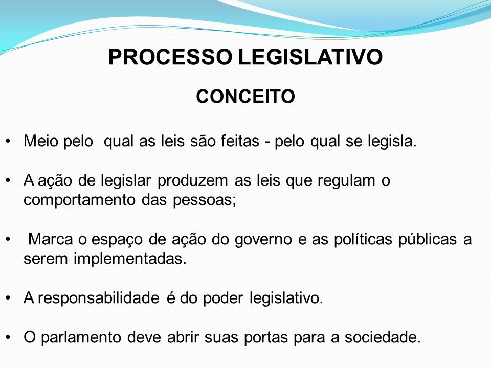 PROCESSO LEGISLATIVO CONCEITO