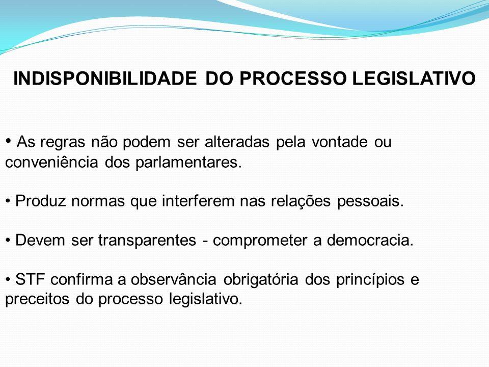 INDISPONIBILIDADE DO PROCESSO LEGISLATIVO
