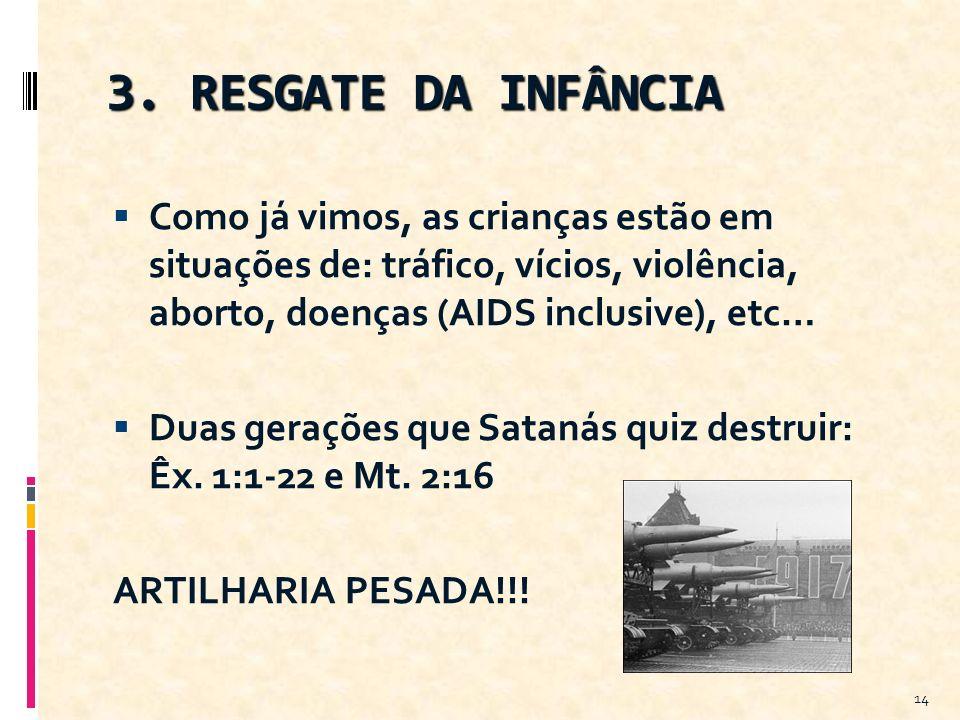 3. RESGATE DA INFÂNCIA Como já vimos, as crianças estão em situações de: tráfico, vícios, violência, aborto, doenças (AIDS inclusive), etc…