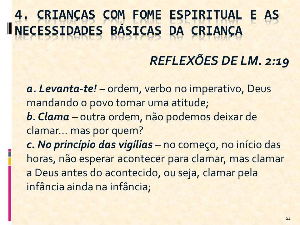 4. CRIANÇAS COM FOME ESPIRITUAL E AS NECESSIDADES BÁSICAS DA CRIANÇA