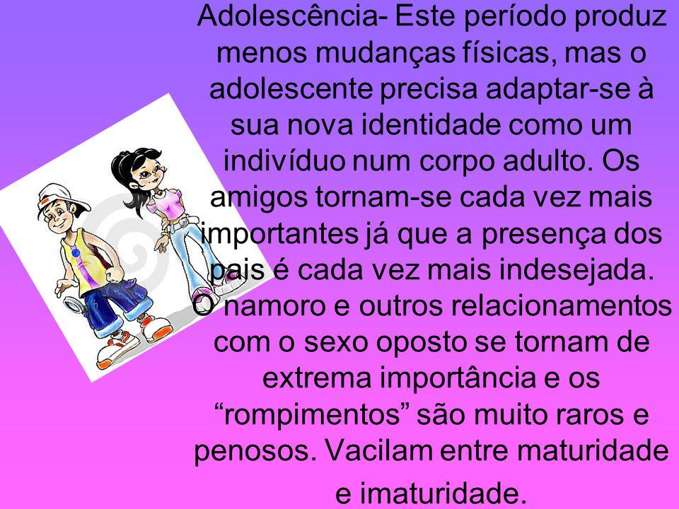 Adolescência- Este período produz menos mudanças físicas, mas o adolescente precisa adaptar-se à sua nova identidade como um indivíduo num corpo adulto.