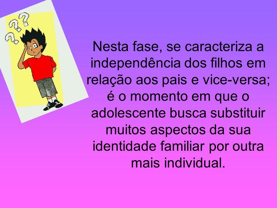 Nesta fase, se caracteriza a independência dos filhos em relação aos pais e vice-versa; é o momento em que o adolescente busca substituir muitos aspectos da sua identidade familiar por outra mais individual.