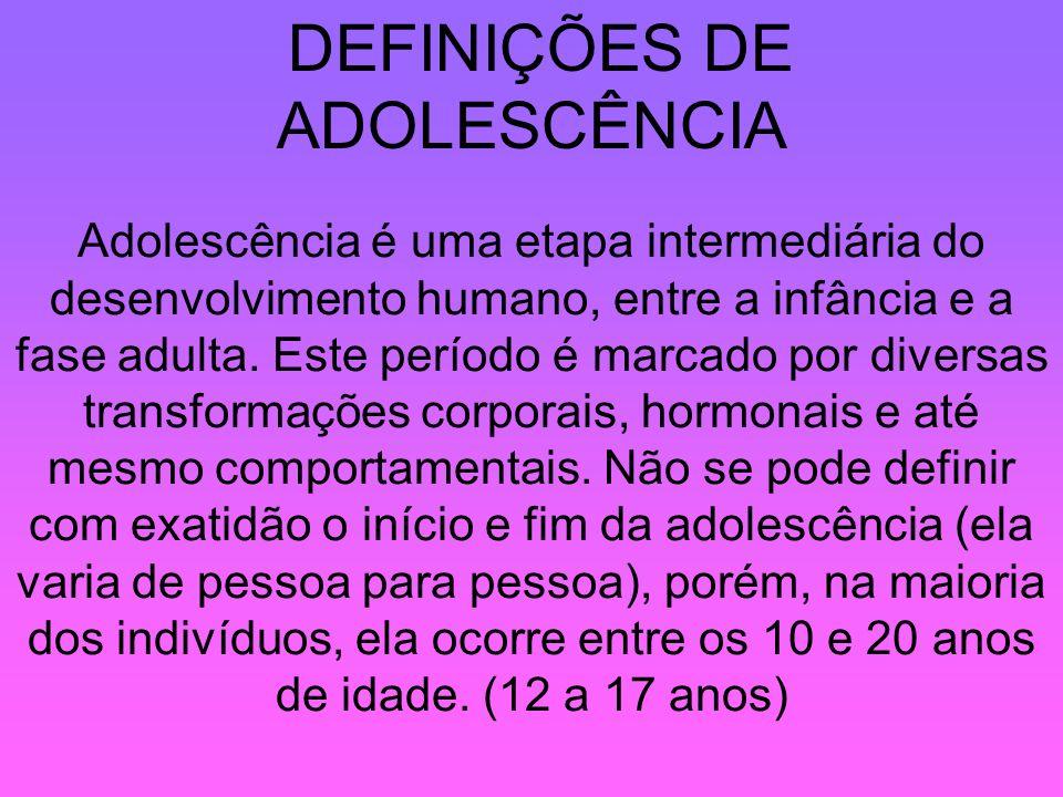 DEFINIÇÕES DE ADOLESCÊNCIA