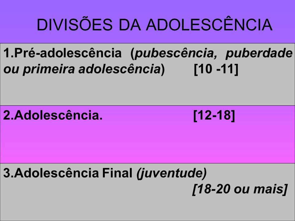 DIVISÕES DA ADOLESCÊNCIA