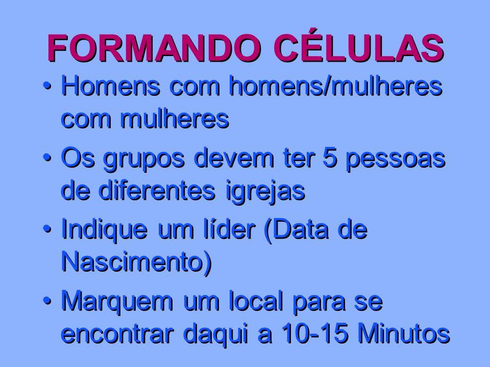 FORMANDO CÉLULAS Homens com homens/mulheres com mulheres