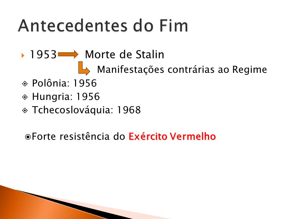 Antecedentes do Fim 1953 Morte de Stalin