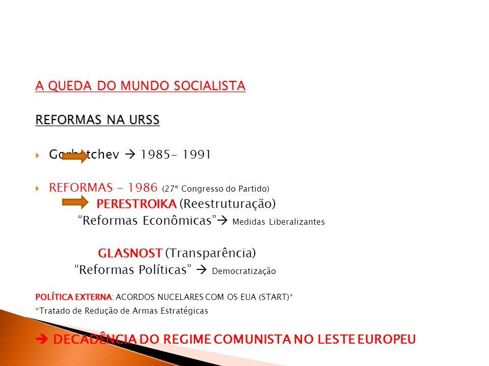 A QUEDA DO MUNDO SOCIALISTA REFORMAS NA URSS Gorbatchev  1985- 1991