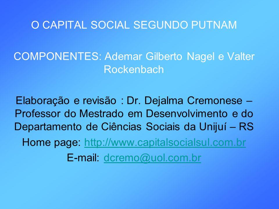 O CAPITAL SOCIAL SEGUNDO PUTNAM