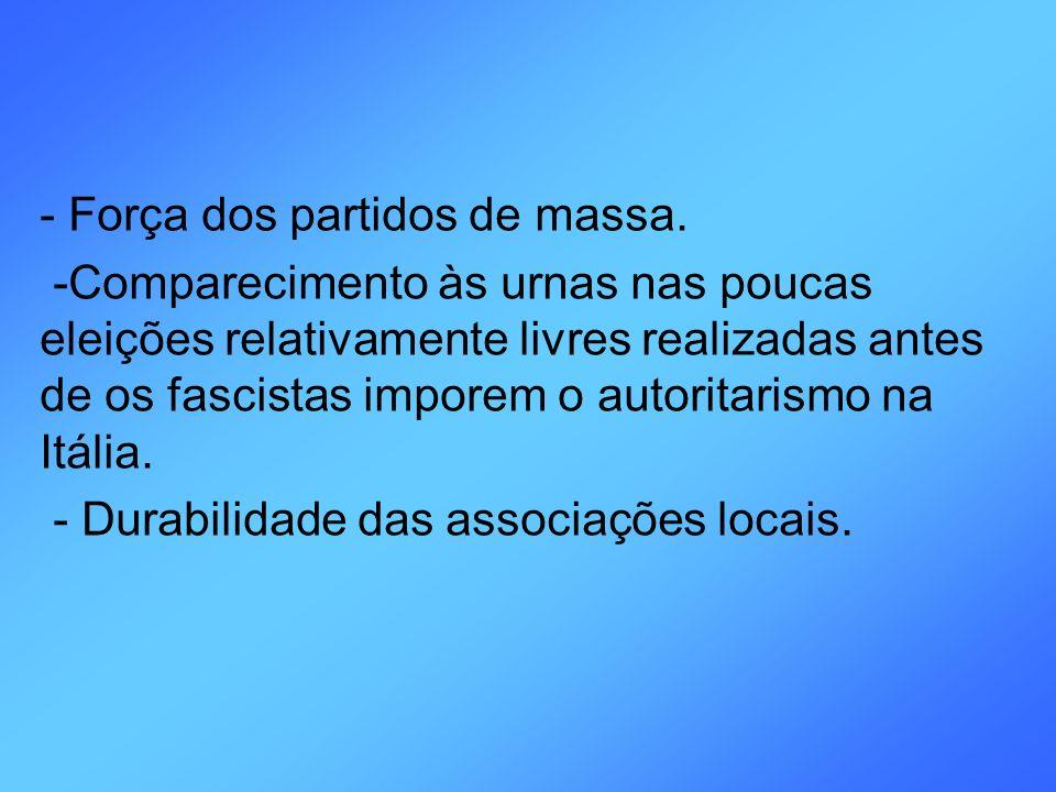 - Força dos partidos de massa.