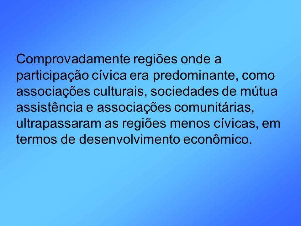 Comprovadamente regiões onde a participação cívica era predominante, como associações culturais, sociedades de mútua assistência e associações comunitárias, ultrapassaram as regiões menos cívicas, em termos de desenvolvimento econômico.
