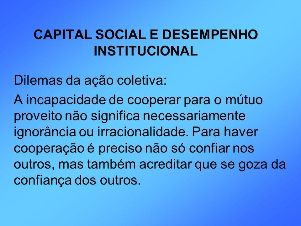 CAPITAL SOCIAL E DESEMPENHO INSTITUCIONAL