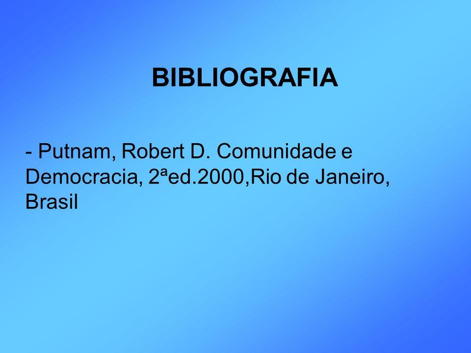 BIBLIOGRAFIA Putnam, Robert D. Comunidade e Democracia, 2ªed.2000,Rio de Janeiro, Brasil