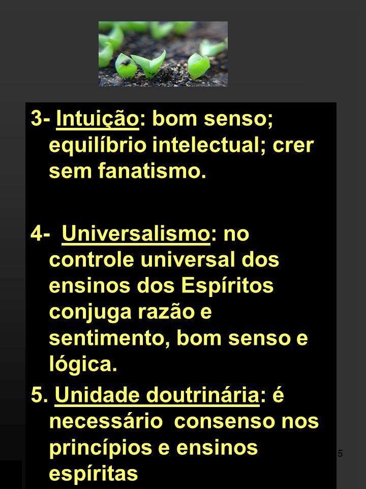 3- Intuição: bom senso; equilíbrio intelectual; crer sem fanatismo.
