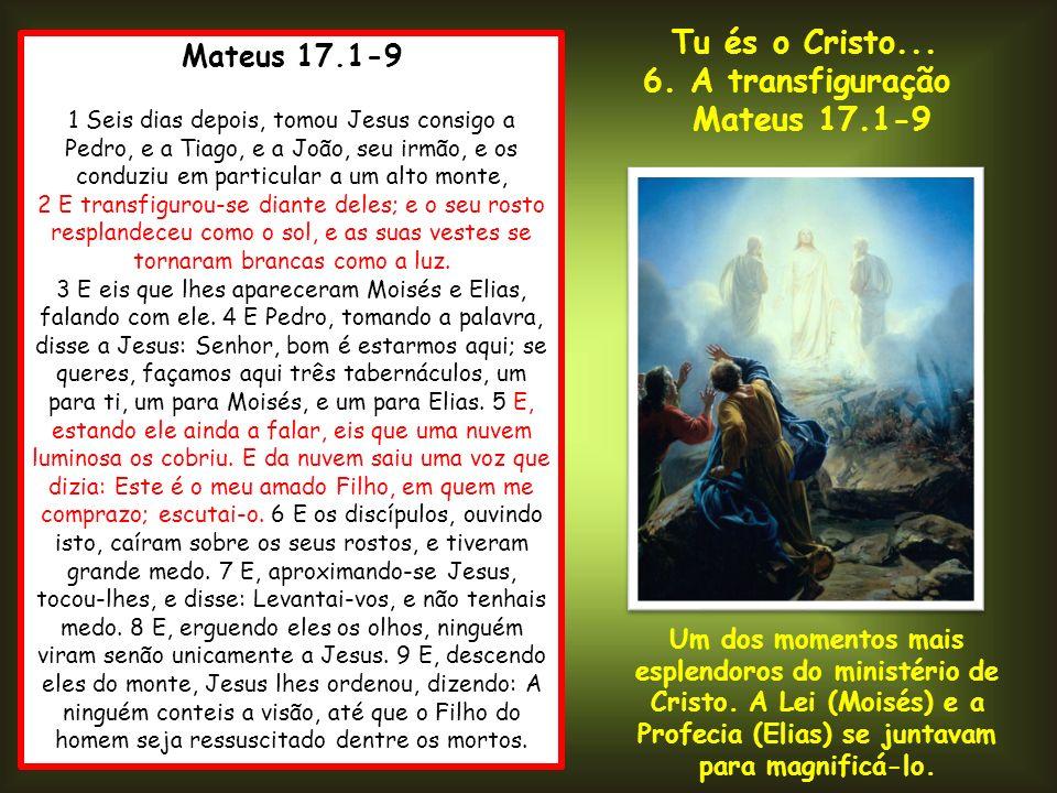 Tu és o Cristo... 6. A transfiguração Mateus 17.1-9 Mateus 17.1-9