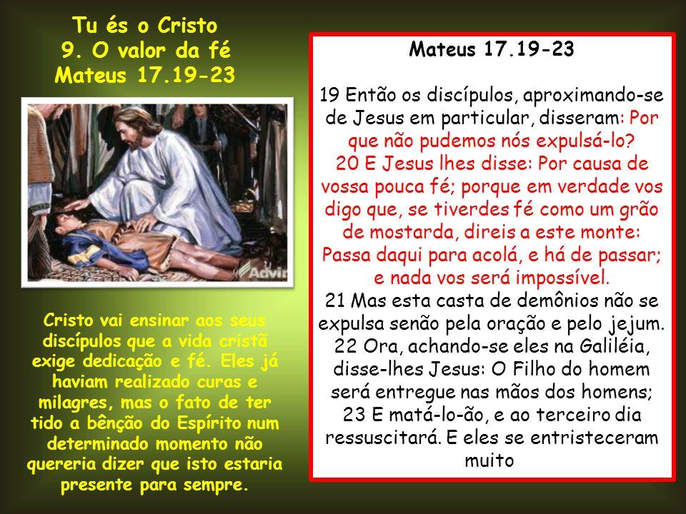 Tu és o Cristo 9. O valor da fé Mateus 17.19-23 Mateus 17.19-23