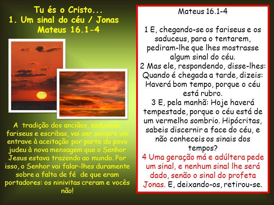 Tu és o Cristo... 1. Um sinal do céu / Jonas Mateus 16.1-4