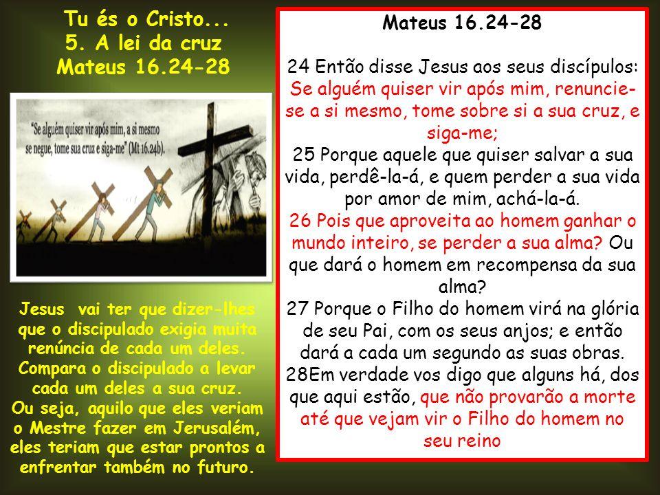 Compara o discipulado a levar cada um deles a sua cruz.