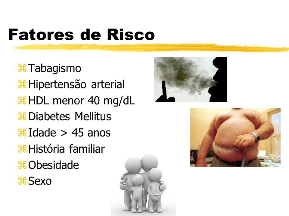 Fatores de Risco Tabagismo Hipertensão arterial HDL menor 40 mg/dL