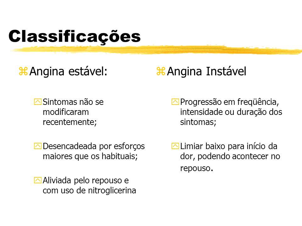 Classificações Angina estável: Angina Instável