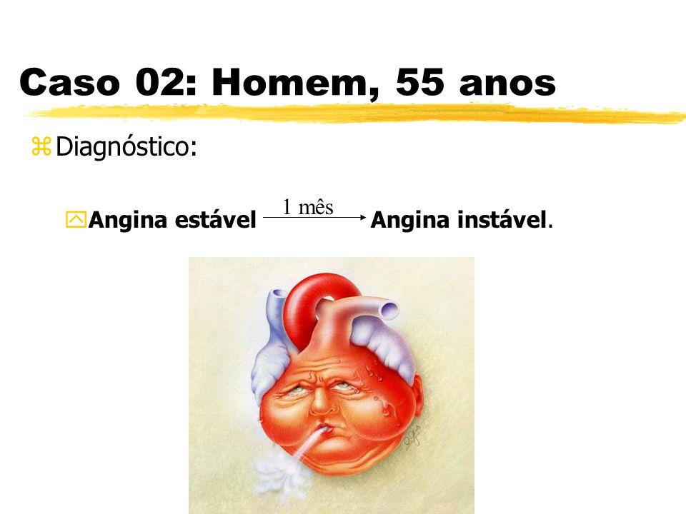 Caso 02: Homem, 55 anos Diagnóstico: Angina estável Angina instável.