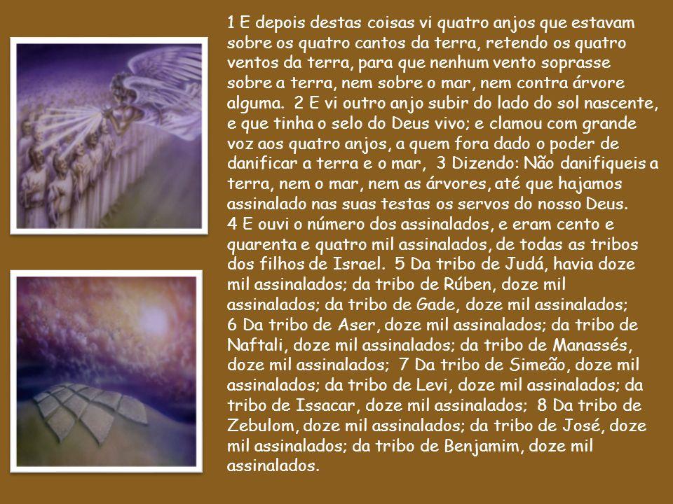 1 E depois destas coisas vi quatro anjos que estavam sobre os quatro cantos da terra, retendo os quatro ventos da terra, para que nenhum vento soprasse sobre a terra, nem sobre o mar, nem contra árvore alguma. 2 E vi outro anjo subir do lado do sol nascente, e que tinha o selo do Deus vivo; e clamou com grande voz aos quatro anjos, a quem fora dado o poder de danificar a terra e o mar, 3 Dizendo: Não danifiqueis a terra, nem o mar, nem as árvores, até que hajamos assinalado nas suas testas os servos do nosso Deus.