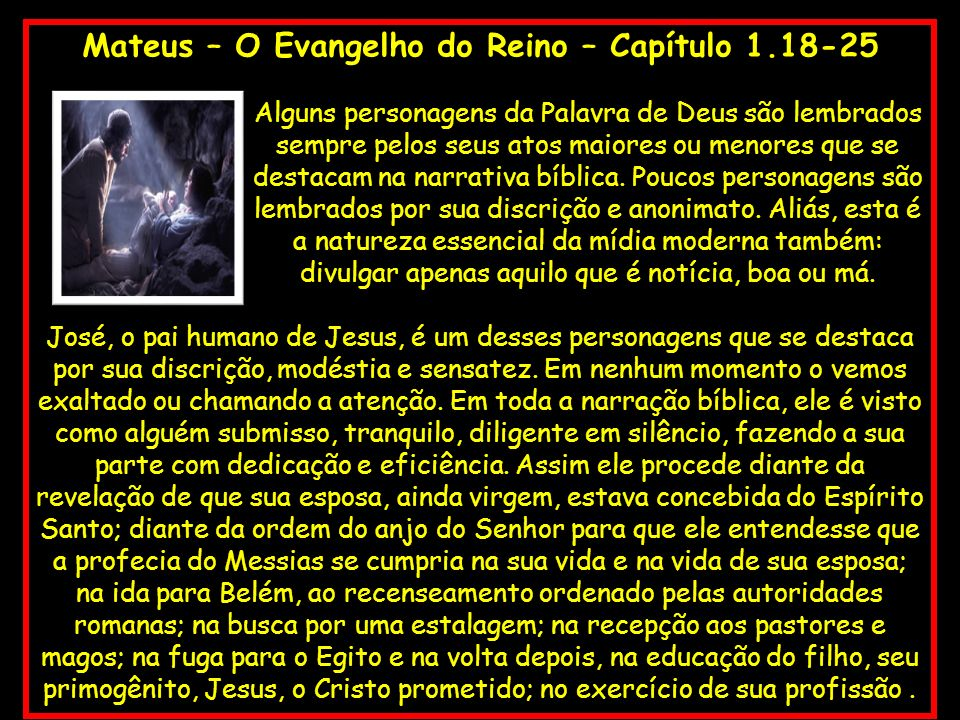 Mateus – O Evangelho do Reino – Capítulo 1.18-25