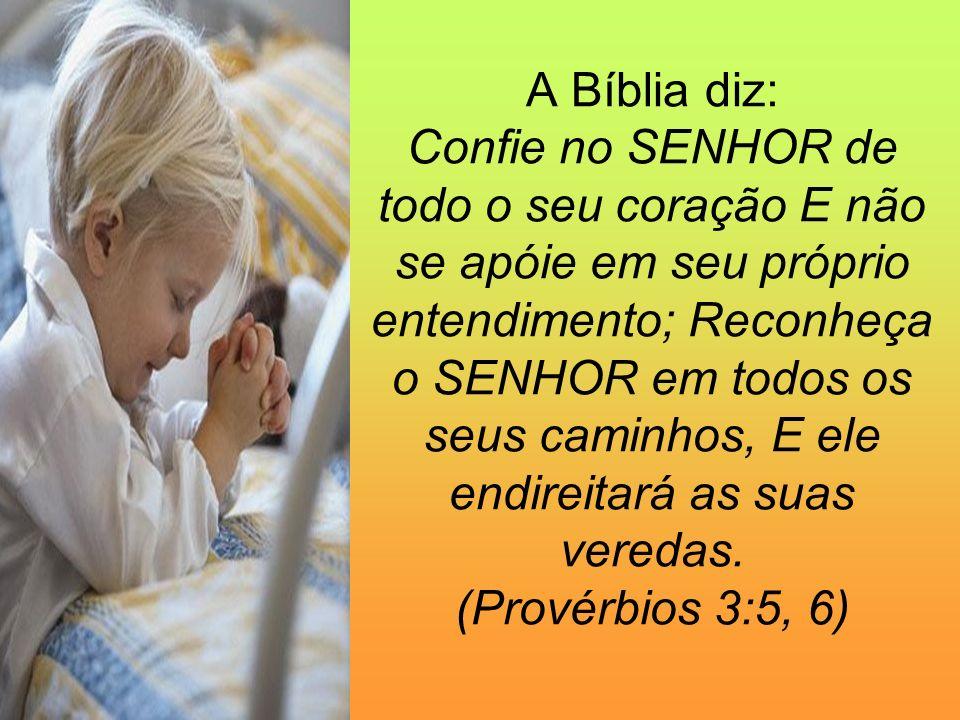 A Bíblia diz: Confie no SENHOR de todo o seu coração E não se apóie em seu próprio entendimento; Reconheça o SENHOR em todos os seus caminhos, E ele endireitará as suas veredas.