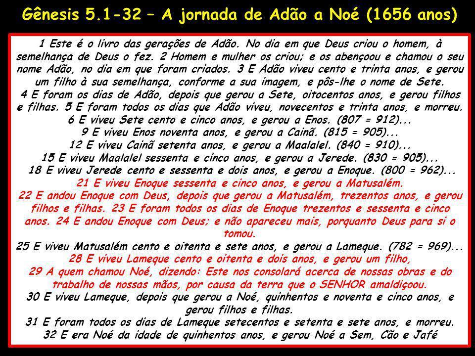 Gênesis 5.1-32 – A jornada de Adão a Noé (1656 anos)