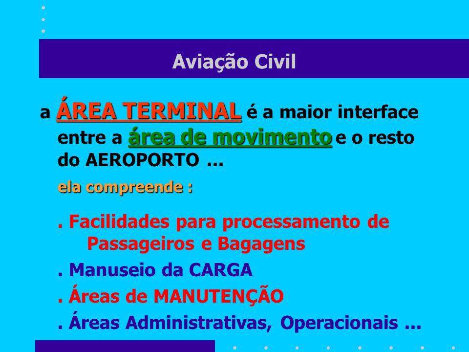 Aviação Civil a ÁREA TERMINAL é a maior interface entre a área de movimento e o resto do AEROPORTO ...