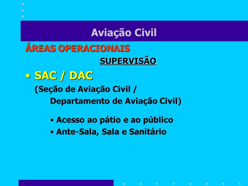 SAC / DAC Aviação Civil ÁREAS OPERACIONAIS SUPERVISÃO