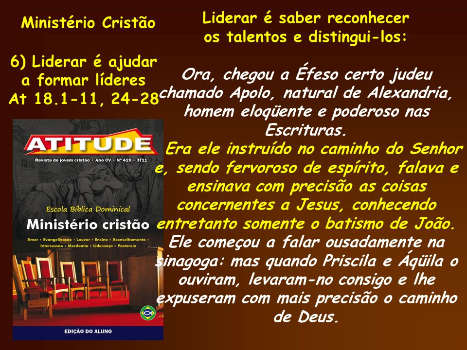 Ministério Cristão Liderar é saber reconhecer