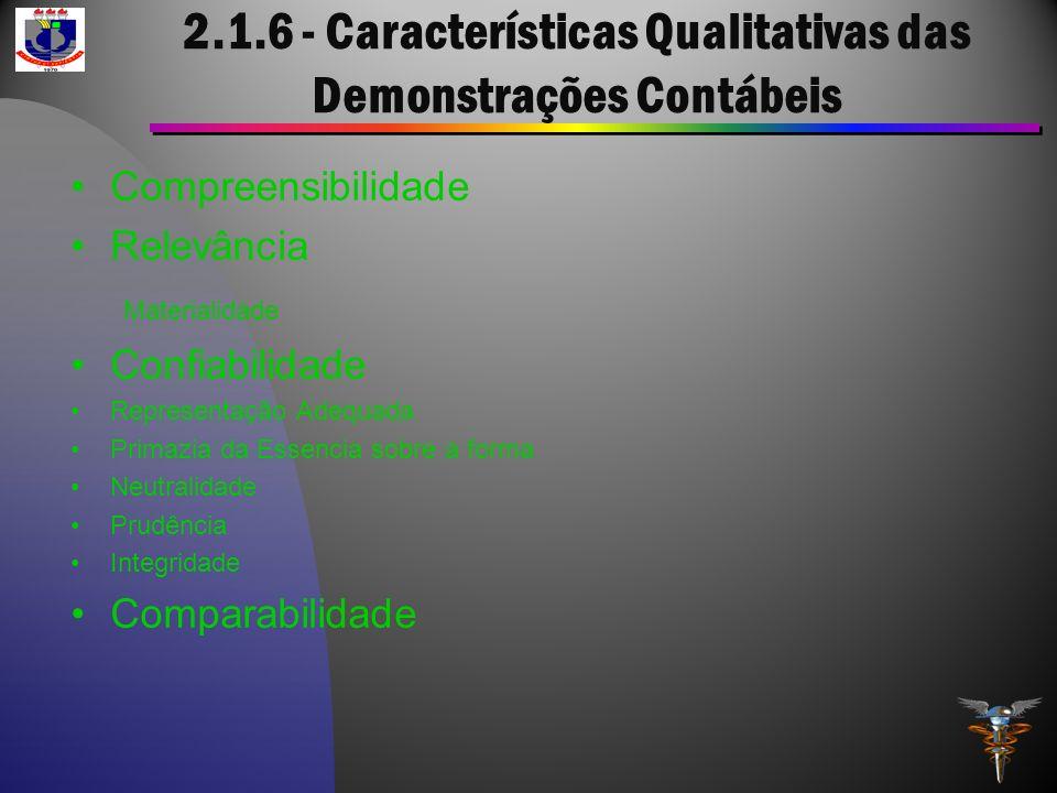 2.1.6 - Características Qualitativas das Demonstrações Contábeis