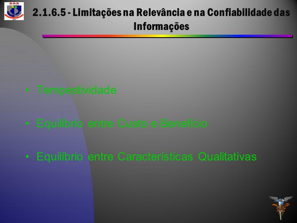2.1.6.5 - Limitações na Relevância e na Confiabilidade das Informações